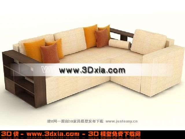 现代中式拐角沙发3d模型下载
