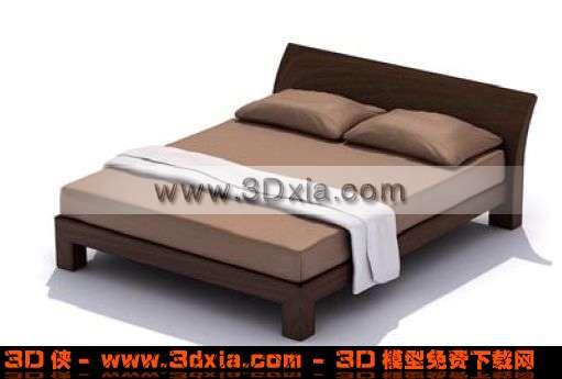 舒适美观的3d双人木床模型-3d模型库; 双人木床设计图; 构件模型 筛选