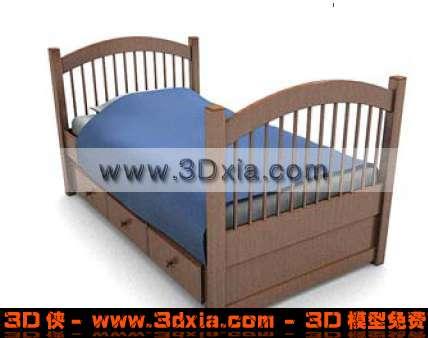 3d可爱的儿童床模型-3d模型库-3d侠3d模型下载网