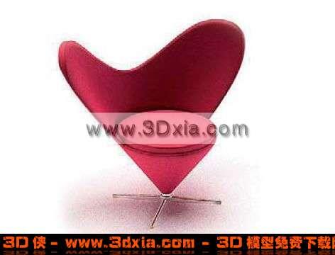 3d心型漂亮的红色单人沙发模型渲染效果图片