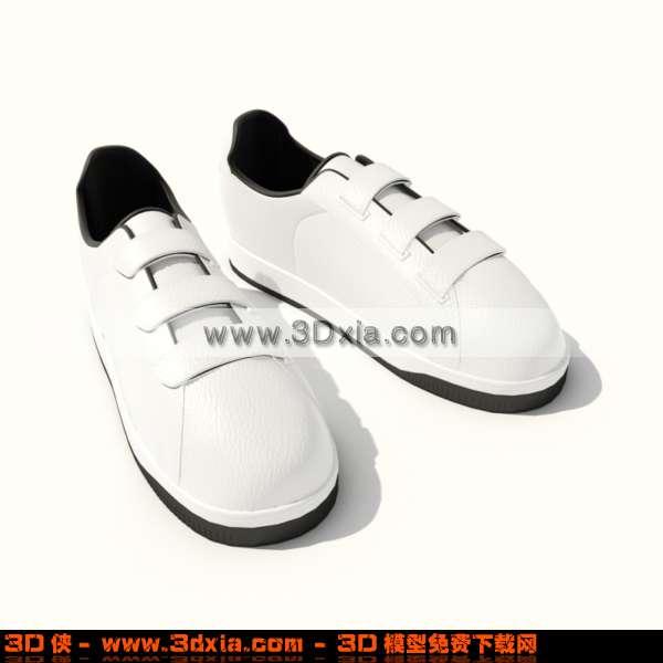 展示服装效果图素材免费下载,本作品主题是时尚的白色运动鞋3d模型