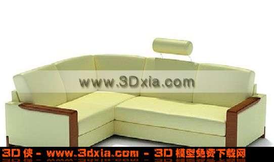 淡黄色精美的拐角沙发3d模型
