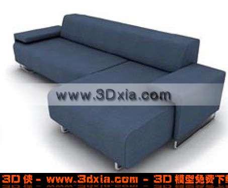十分漂亮的深蓝色拐角沙发3d模型【id:3202】
