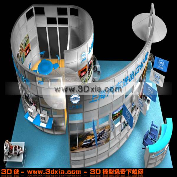 汽车销售展示厅3d模型下载渲染效果图片