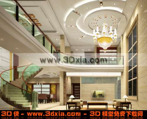 高档的别墅客厅3d模型