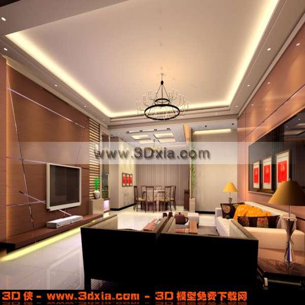 漂亮的现代欧式客厅3d模型渲染效果图片