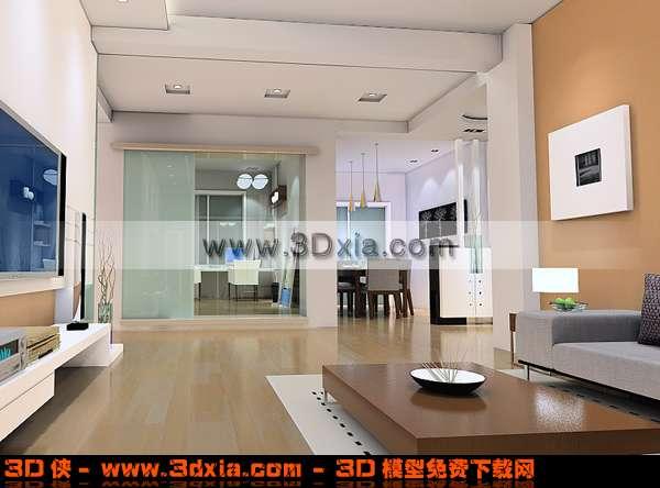 现代气息浓重的客厅3d模型 带渲染效果图