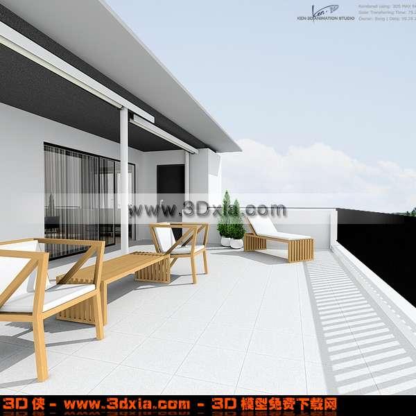 宽大的别墅阳台场景3d模型-3d模型库-3d侠3d模型下载