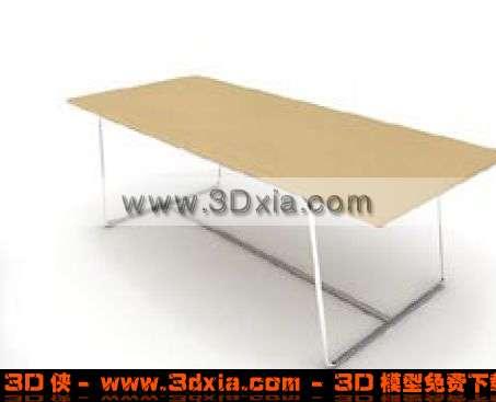 非常普通的长方形木板桌3d模型渲染效果图片