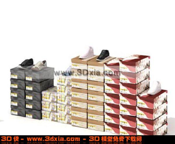 一堆鞋子3d模型