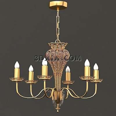 欧式古铜吊灯3d模型渲染效果图片