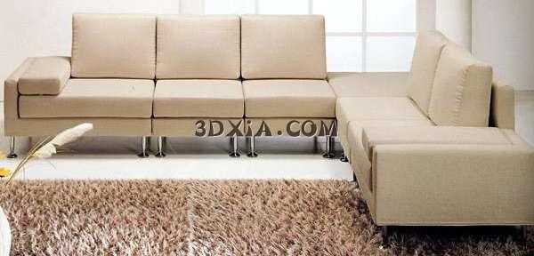 现代家具3d模型-经典的白色拐角沙发