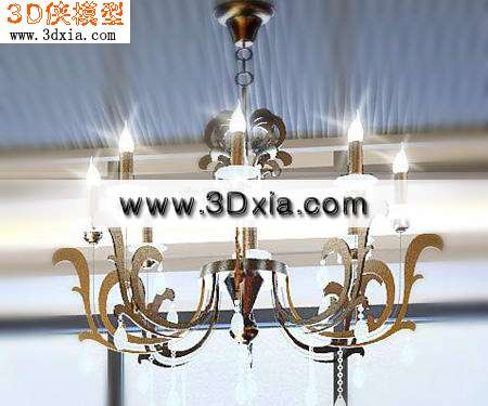 欧式灯-极品吊灯3d模型渲染效果图片
