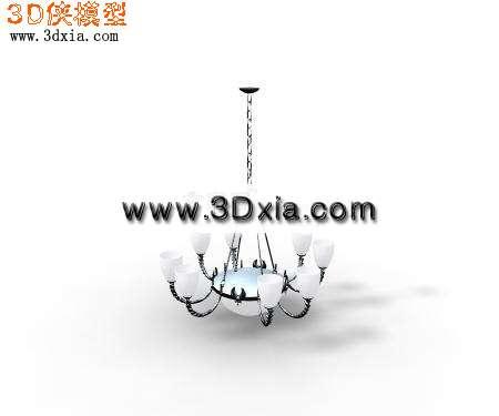 现代欧式吊灯3d模型渲染效果图片