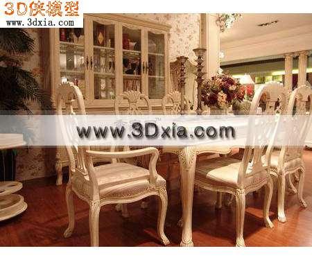 欧式白色餐桌3d模型