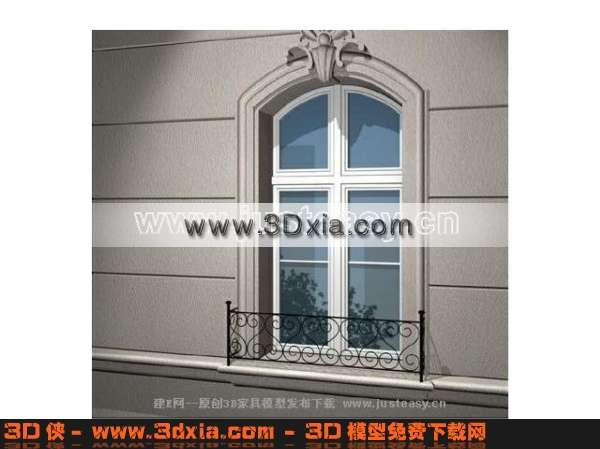 窗帘家纺效果图素材免费下载,本作品主题是欧式窗-3d精致的窗子模型