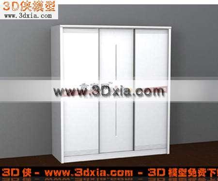 时尚白色衣柜3d模型下载渲染效果图片