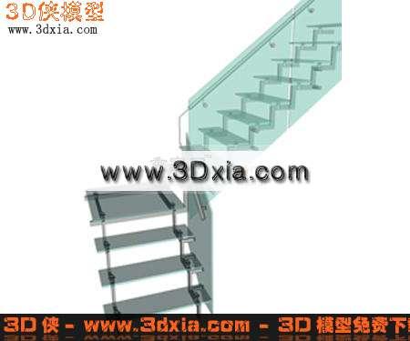 3d模型-玻璃转角楼梯