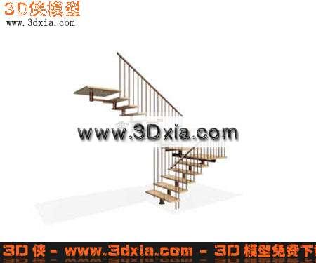 3d模型-精细的转角楼梯