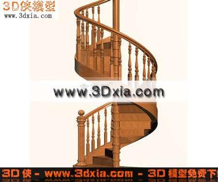 栏杆效果图素材免费下载,本作品主题是3d模型-经典的木制旋转楼梯