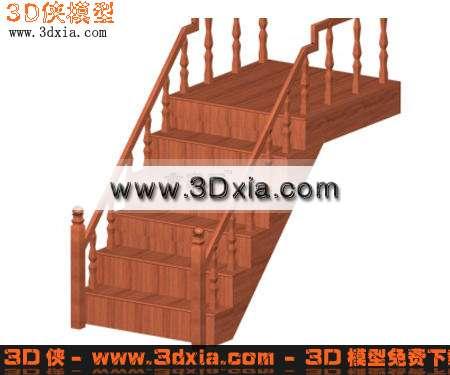 栏杆效果图素材免费下载,本作品主题是3d模型-经典木制楼梯,编号是