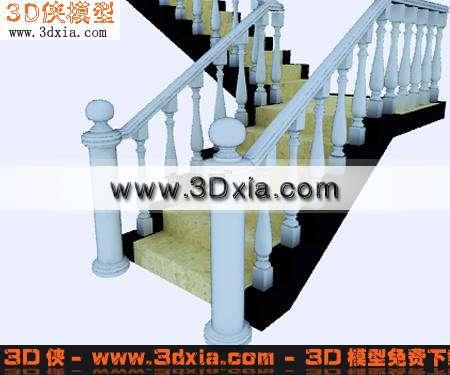 3d模型-欧式楼梯-3d模型库-3d侠3d模型下载网