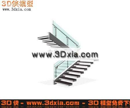 欧式灯-壁灯3d模型; 3d模型-现代玻璃扶手楼梯-3d
