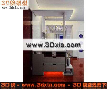 3d模型-时尚精致的玄关鞋柜