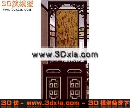3d模型-中式玄关鞋柜渲染效果图片