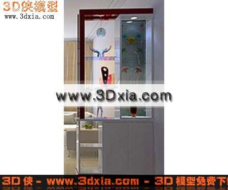 3d模型下载-造型精美的玄关鞋柜