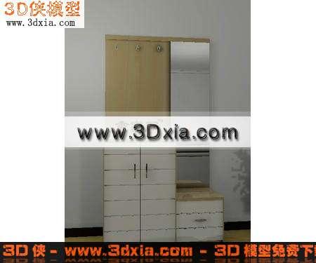 品质精细的玄关鞋柜-3d模型库-3d侠3d模型下载网