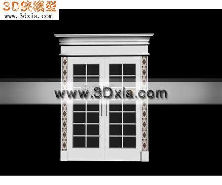 窗帘家纺效果图素材免费下载,本作品主题是简约的欧式窗户3d模型,编号