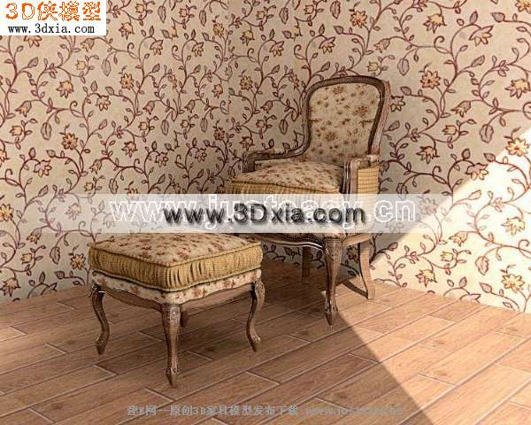 3d模型下载-欧式单人沙发-3d模型库-3d侠3d模型下载