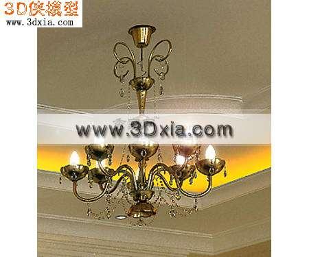 欧式吊灯3d模型渲染效果图片