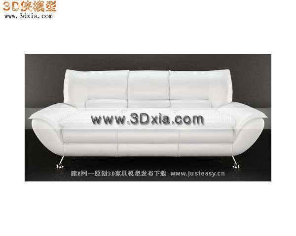 3d模型下载-白色三人皮沙发渲染效果图片