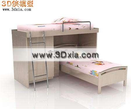 时尚可爱的3d儿童上下床模型
