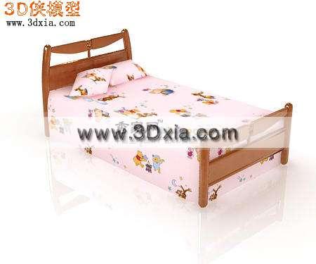 时尚可爱的儿童床3d模型渲染效果图片