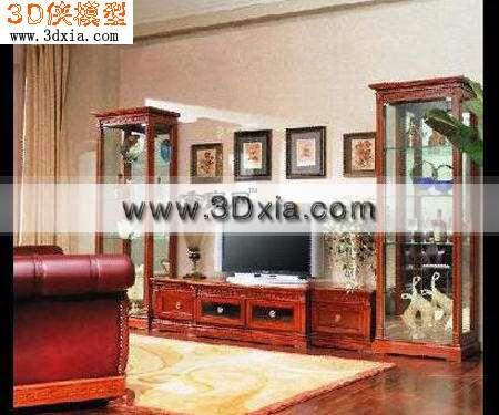 酒柜加电视柜3d模型下载渲染效果图片