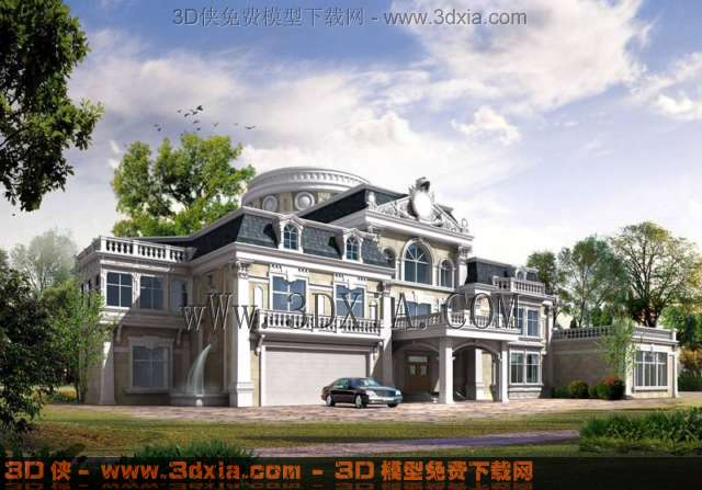欧式别墅建筑效果图3d模型-24-3d模型库-3d侠