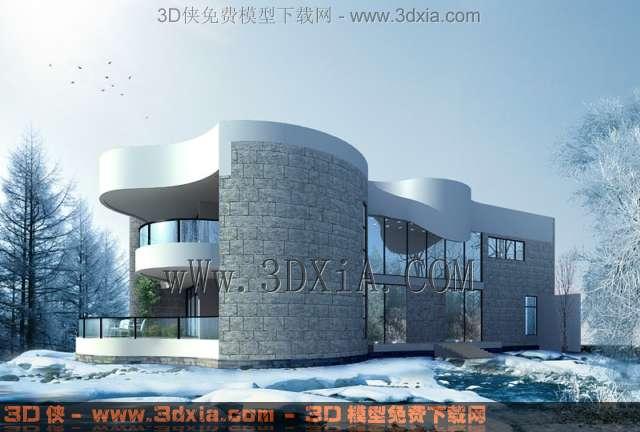 一栋别墅建筑效果图雪景3d模型-01-3D模型库
