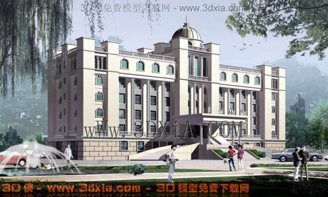 有贴图的欧式办公大楼效果图3d模型-02图片