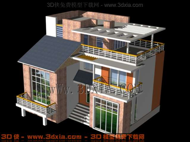 别墅方案7-3d模型库-3d侠3d模型下载网