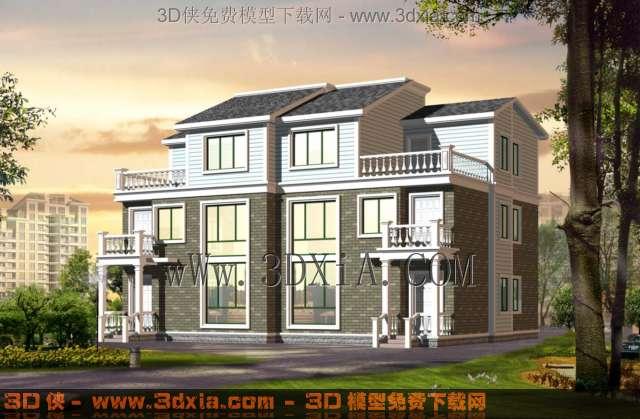 别墅建筑效果图3d模型有完整贴图-04-3D模型