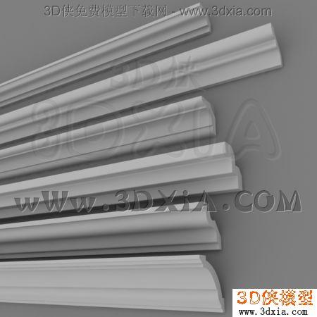 构件五金 建筑构件 欧式构件 石膏线3d模型-3dmax2009-плинтус