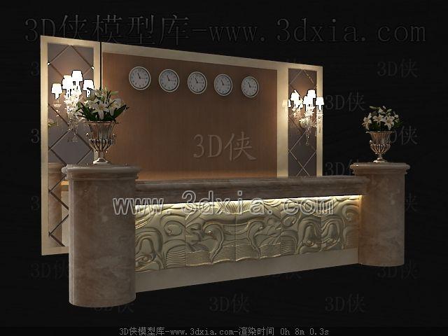 接待台3D模型下载-版本3D2009-a4407-3D模型