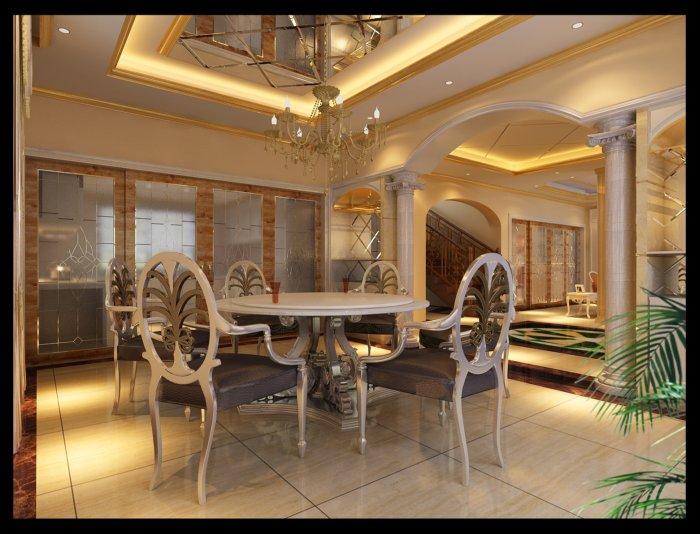 别墅豪华餐厅渲染效果图片
