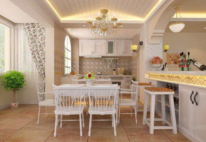餐厅厨房吧台装修图渲染效果图片