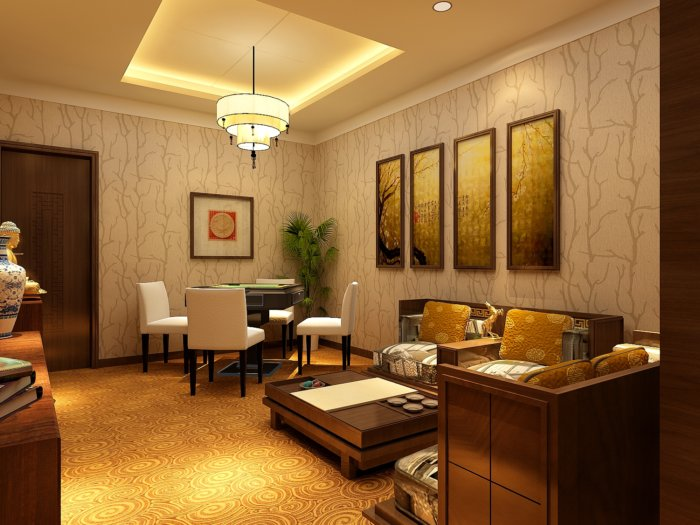 3d麻将室装修效果图渲染效果图片