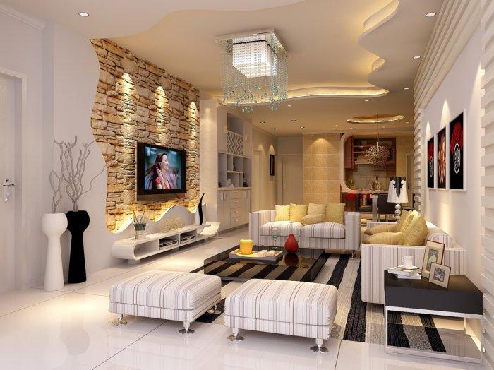 客厅电视背景墙设计图片渲染效果图片