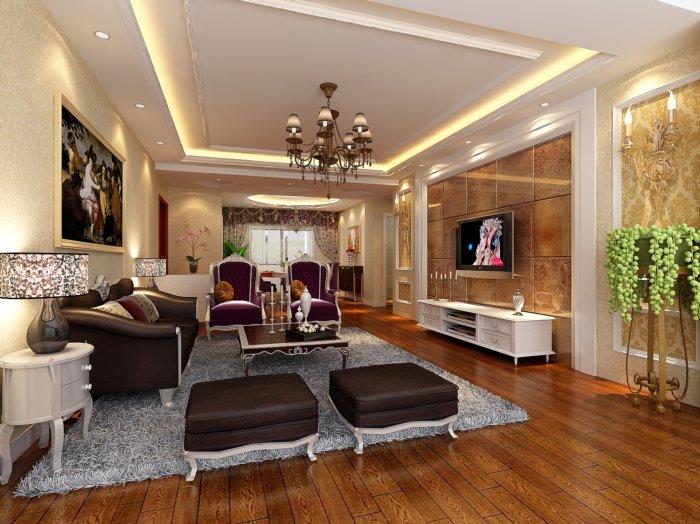 客厅吊顶设计效果图-3d模型库-3d侠3d模型下载网